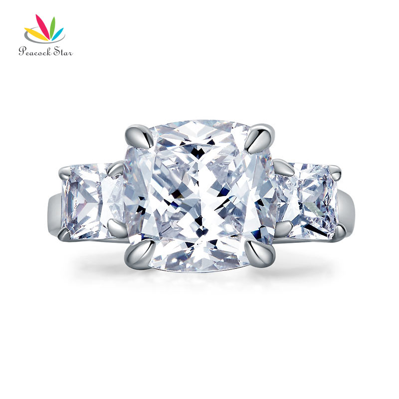 Peacock Star Cushion Cut 4 Carat Solid 925 Sterling Silver Ring Three-Stone Pageant Luxury Jewelry CFR8309