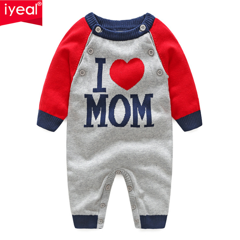 IYEAL Baby Boy Rompers Newborn Kid Baby Girls Letter Pattern Knitting Romper Long Sleeve Autumn Jumpsuit Outfit Infant Clothes cotton newborn infant boy girl baby christmas romper jumpsuit outfit autumn winter long sleeve rompers