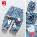 New  Girls Jeans Autumn Children Pants Casual Jeans Girls  Blue Children Clothing Factory-direct-clothing Kids Jeans