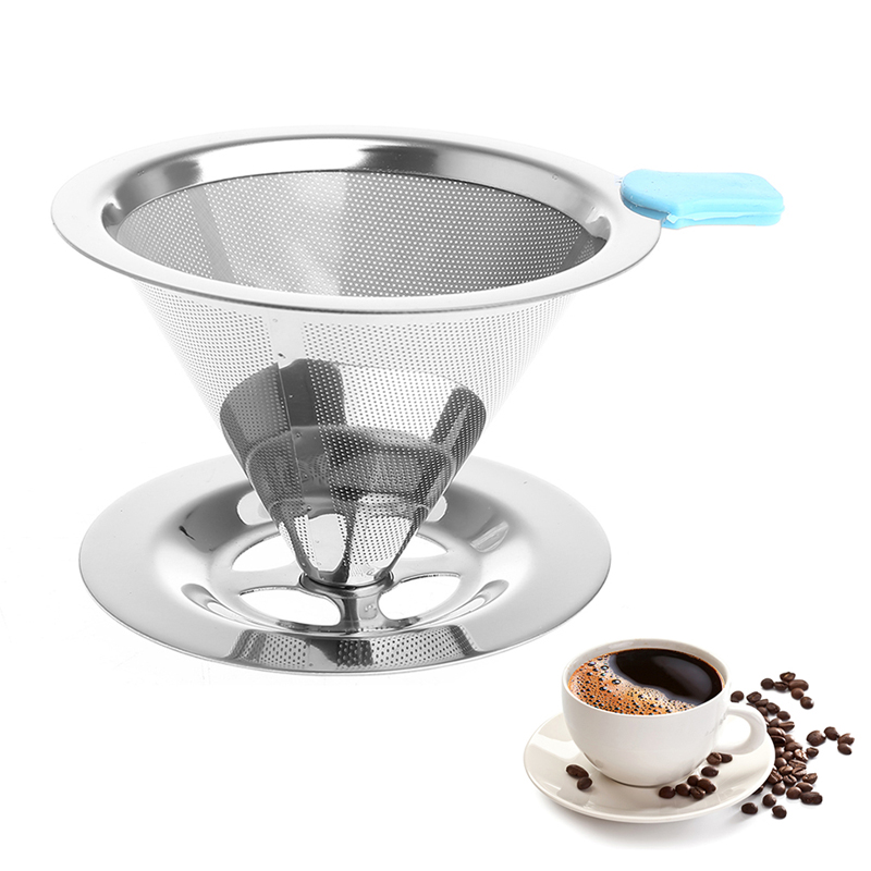 Portable Metal Stainless Steel Coffee Filter Funnel /V-type Cup Filters Tea Tool 115mm duck style stainless steel tea leaf infuser filter tool w stand silver