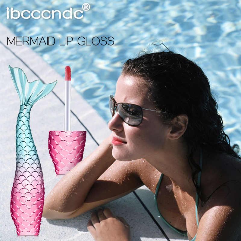 Sıvı kristal kızdırma denizkızı dudak parlak lazer holografik dudak dövme ruj makyaj Mermaid Pigment Glitter dudak parlatıcısı TSLM1