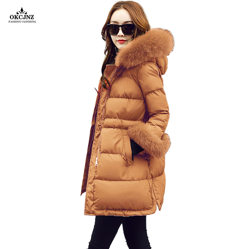 2017 New Winter Coat Women Real Fur Collar Long Jackets Female Three Quarter Sleeves Thick Warm Hooded Cotton Outerwear OK23S