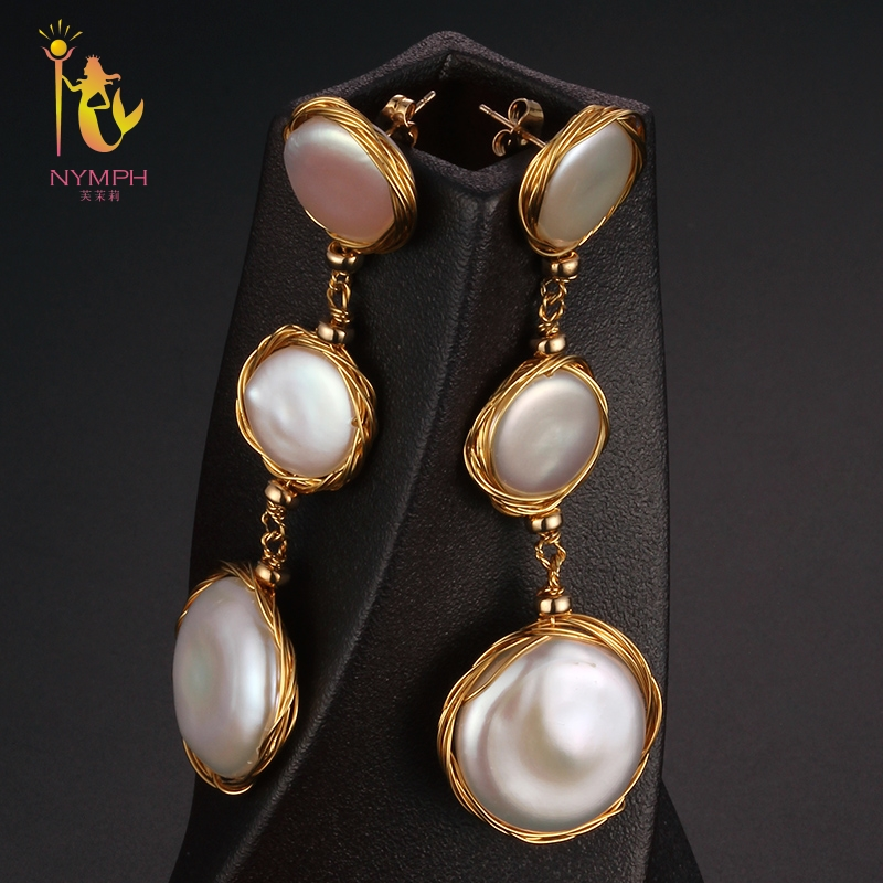 [NYMPH] Long Pearl Earrings Fine Jewelry Big Natural Baroque Pearl Earrings For Women 2018 Fashion Gift For Party E305 недорго, оригинальная цена