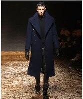 S 6XL! новые зимние Молодежные Тонкий ветровка мужская мужской длинный густая шерсть твидовое пальто человек колено шерстяное пальто Тренч