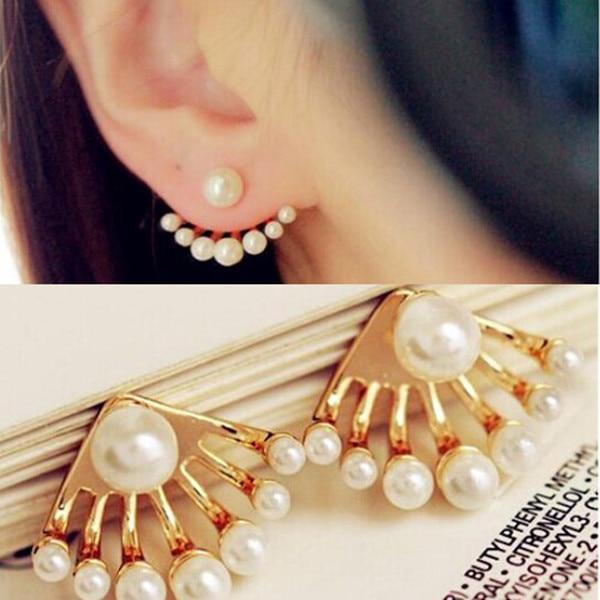 991b3bb98 1Pair 2015 Women New Style Fashion Korean Small Imitation Pearl Earrings  Dragon Hand Ear Cuff Ear