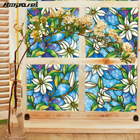 Modern PVC Glass Windows Colored Drawing Film Eco friendly European Fashion Furniture Decorative Window Film Decor FT