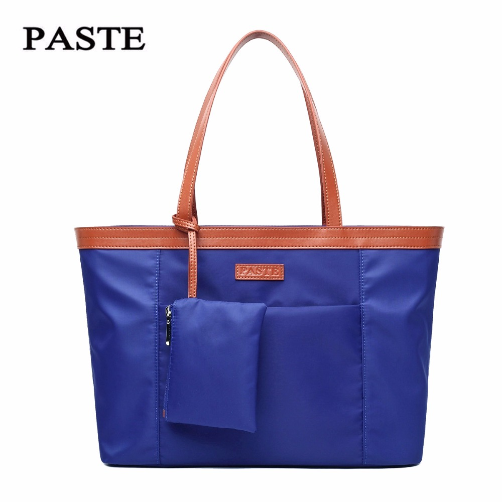 Canvas nylon bag Paste 2017 New Oxford cloth fashion commuter bag female shoulder black/hot pink/blue soft bag 6P0718 universal nylon cell phone holster blue black size l