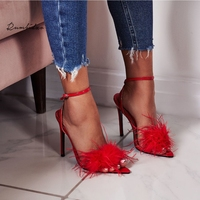 Rumbidzo Women Pumps Shoes Fashion Pointed Toe Tassel Feather High Heels Stilleo Pumps Woman Party Dress Shoes