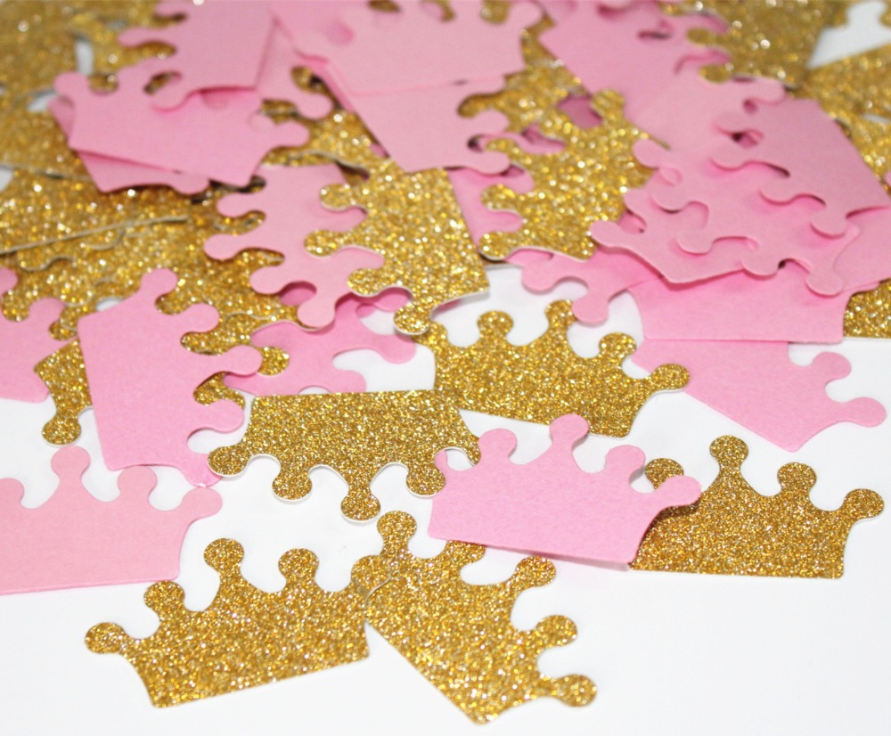 Pink and Gold Confetti Custom Colors Its A Girl Baby Shower Decoration Crown Glitter Princess 1st birthday Party Decor