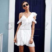 CUERLY Ruffle cold shoulder white dress women High waist wrap chiffon dress vestidos Streetwear strap casual summer dress 2019 plus cold shoulder ruffle denim dress