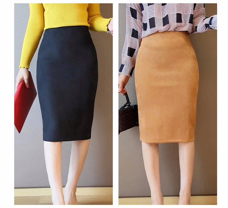 Neophil 2018 Summer Gray Pink Women Suede Midi Pencil Skirts Causal High Waist Sexy Stretch Ladies Office Work Wear Saia S1009 9