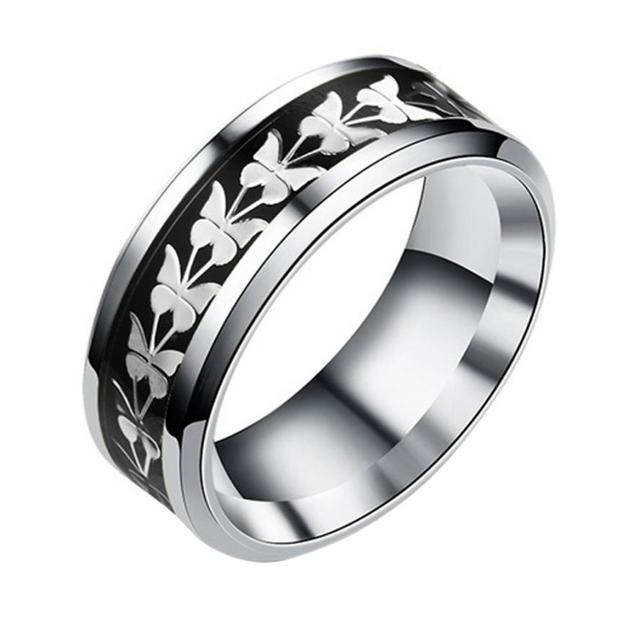 Fashion  Stainless Steel  Women Men Bohemian Vintage Butterfly Totem Rings  Jewelry Delicate 2