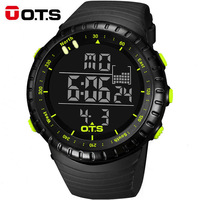 OTS Large Dial Digital Men Sports Watches Running Stopwatch 50m Waterproof Militar Led Electronica Quartz Watches