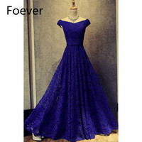 2019 Popular Royer Blue Prom Gowns Long V Neck Short Sleeve Lace Formal Evening Party Dresses for Women