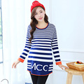Fashion Elegant Autumn Pregnant Women Long Sweater Long Sleeve Striped Loose Pregnancy Nursing Knitwear Maternity Pullovers