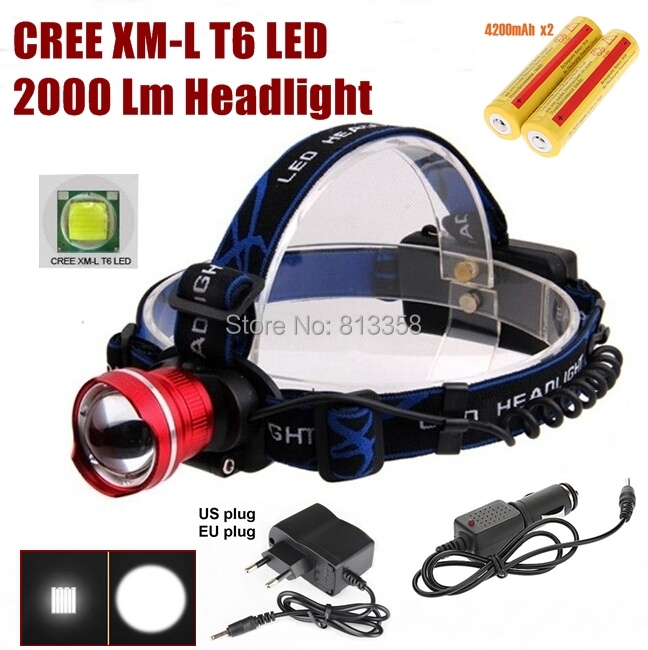 AloneFire HP87 Cree XM L T6 LED Zoom Head light Head lamp With 2 x18650 rechargeable