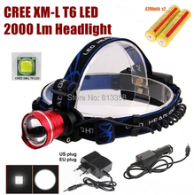 AloneFire HP87 Cree XM-L T6 LED Zoom Head light Head lamp With 2 x18650 rechargeable battery/AC charger/car charger