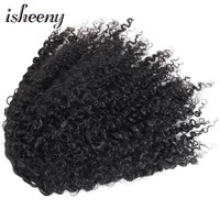 Isheeny Kinky Curly Ponytails Drawstring Clip In Brazilian Human Hair 10 20inch Natural Color Clip In Human Remy Hair Extension