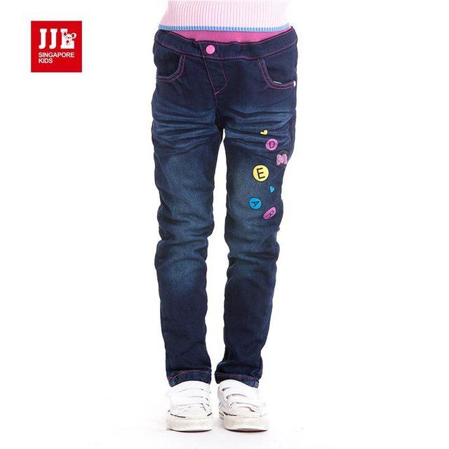 Девушки демин джинсы зима теплая подкладка дети брюки сгустите марка по уходу за детьми брюки 2015 зима новое прибытие
