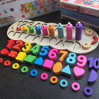 Children Wooden Montessori Learning To Count Numbers Matching Digital Shape Match Early Education Teaching Math Toys