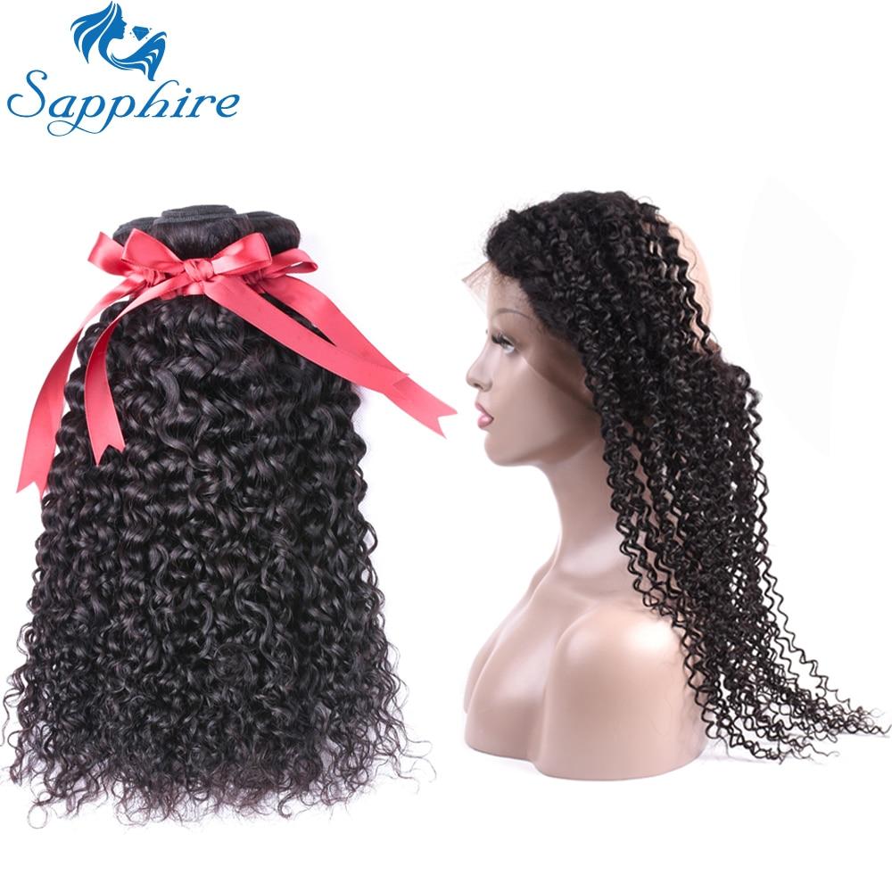 Safir Kinky Curly Remy Human Hair Bundles Med 360 Spets Frontal - Barbershop - Foto 1