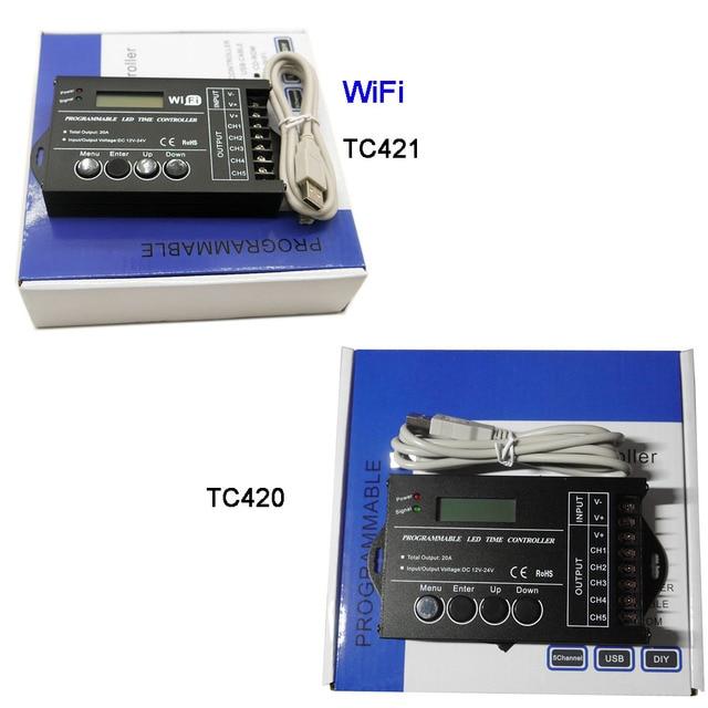 무료 배송 프로그래밍 가능한 시간 프로그래밍 가능 RGB LED 컨트롤러 DC12V/24V 5 채널 총 출력 20A 공통 양극 TC420/TC421