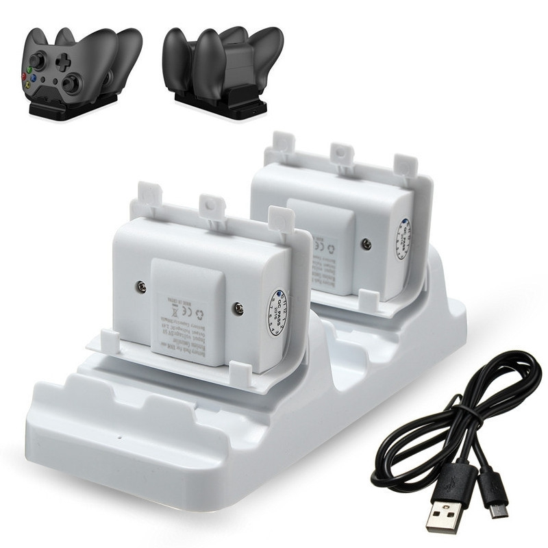 Dual Charging Dock Station Charger Stand + 2pcs Rechargeable Batteries Pack For Microsoft For XBOX ONE Slim Controller