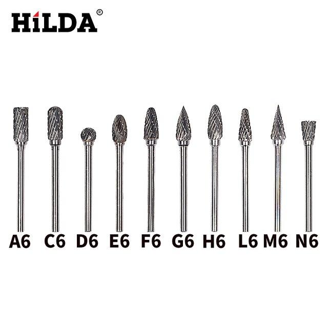 HILDA 10Pcsทังสเตนคาร์ไบด์Bursชุดมินิสว่านโรตารี่อุปกรณ์เสริมDremelเจาะBurrsทังสเตนSharpeningเจาะBits