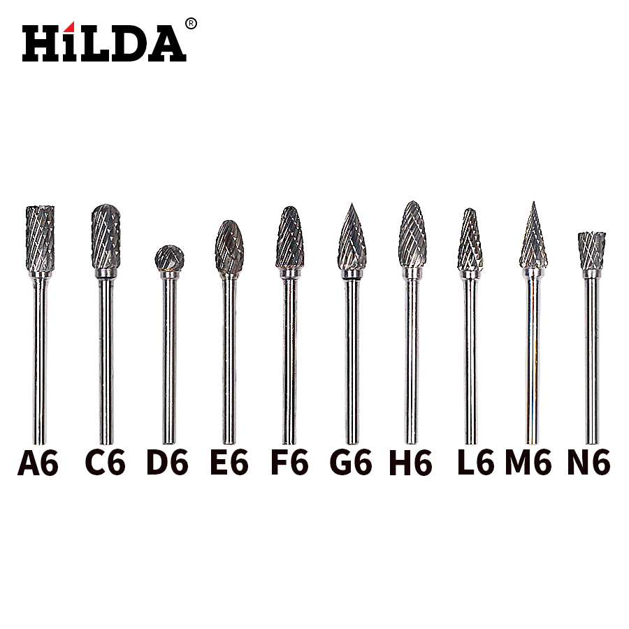 HILDA 10pcs tungsten carbide burs sets rotary mini drill accessories dremel drill grinding burrs tungsten sharpening drill bits
