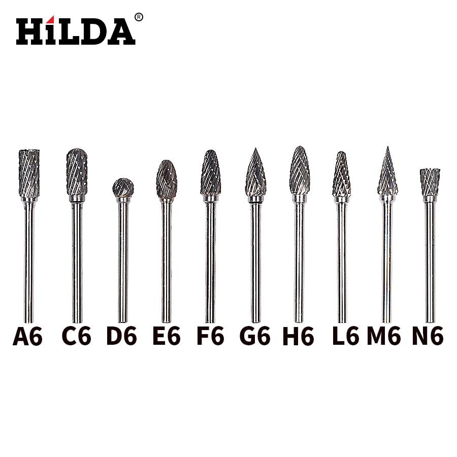 HILDA 10pcs Tungsten Carbide Burs Sets Rotary Mini Drill Accessories Dremel Drill Grinding Burrs Tungsten Sharpening Drill Bits