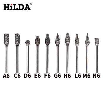 HILDA 10pcs tungsten carbide burs sets rotary mini drill accessories dremel drill grinding burrs tungsten sharpening drill bits golf wood 5 head cover