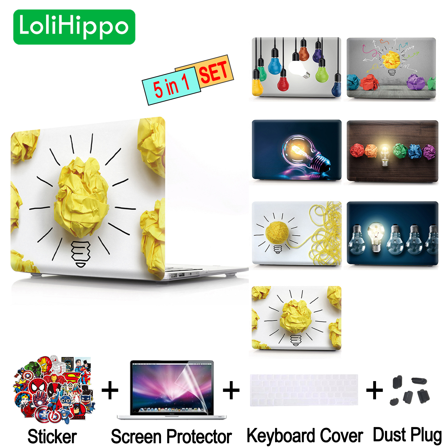 LoliHippo Creative Laptop Replace Case Notebook Lamp Protective Cover for MacBook 11 13 15 Air Pro Retina A1990 A1398 A1369