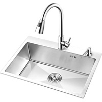 Brushed Finish Kitchen Sink Single Bowl Above Counter Stainless Steel Kitchen Sink with Faucet AU2863