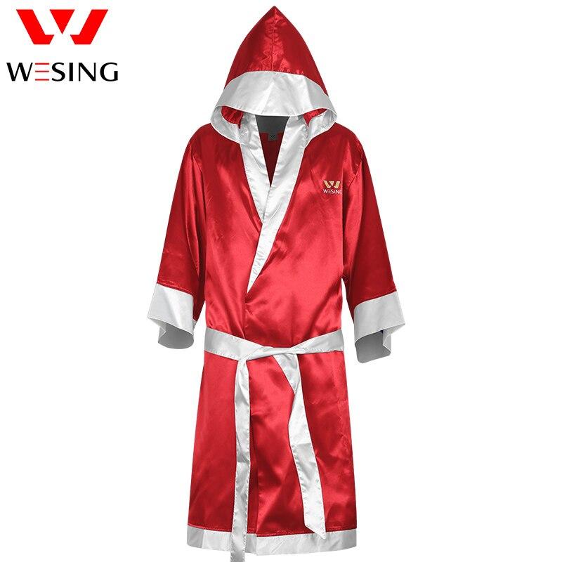 Wesing Satin Hommes Femmes Robe avec Capuche Robe De Boxe De Boxe Manteau Rouge Bleu Livraison gratuite