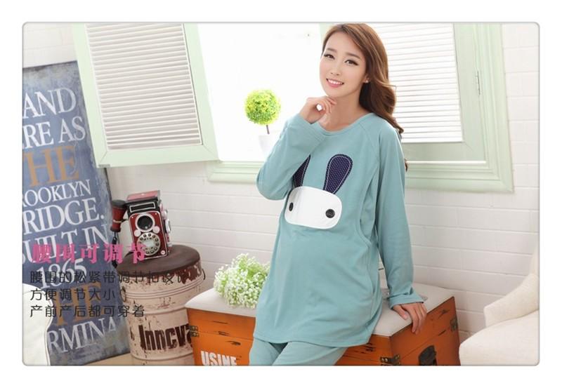 Cartoon rabbit Maternity Nurseing Pajamas (9)