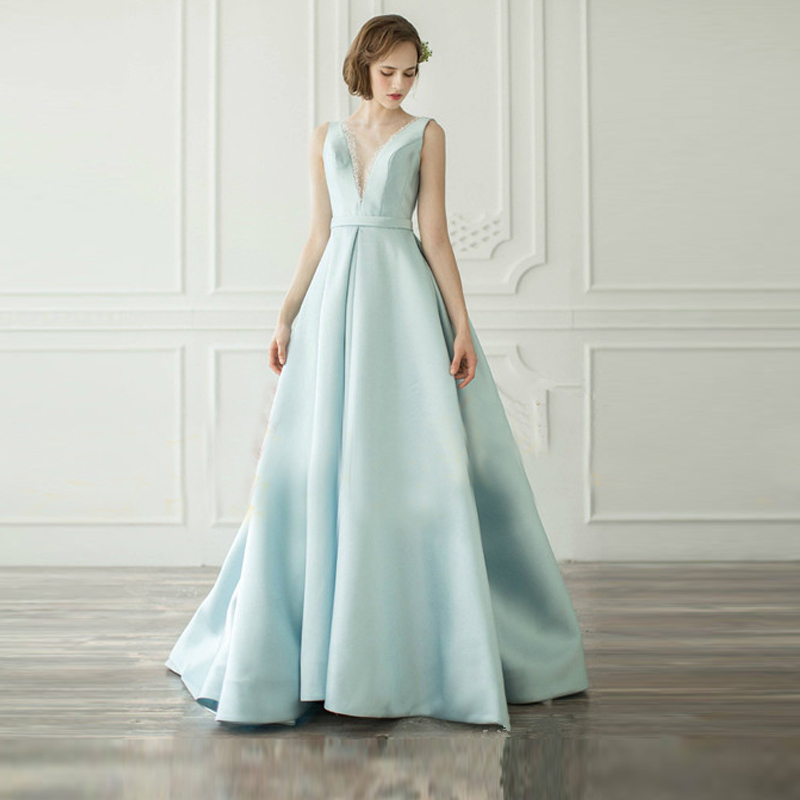 Blue Sexy   Prom     Dresses   2019 Long Girl Satin Spaghetti Strap Party   Dresses   Long Open Back Evening   Dresses   Real Sample
