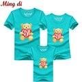 Ming Di la familia de algodón 95% historieta de la osa menor camiseta a juego madre hijo ropa ropa de los niños de la familia a juego trajes