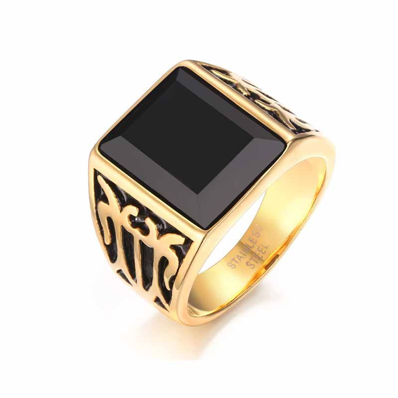 16 mm Vintage Stainless Steel Exquisite Noble Men Ring High Quality Wholesale Beautiful Individual Anniversary Christmas Gift