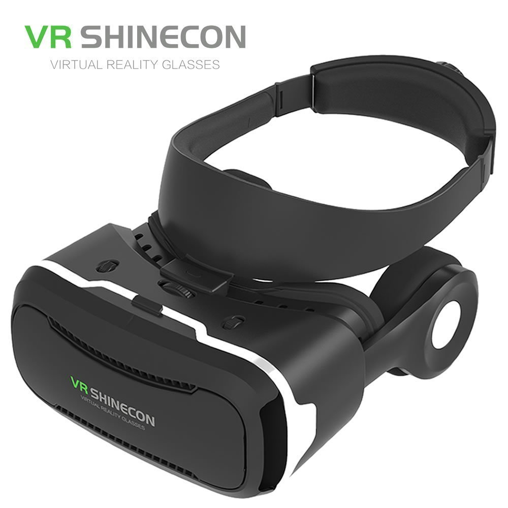 Shinecon VR 4.0 Pro Virtual Reality Goggles 3D Google Cardboard Goggles VR Box Headset For 4.7-6.0 inch Smartphone + Gamepad 3 in 1 corner rounder