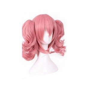 Image 2 - HAIRJOY Woman różowa peruka do Cosplay średniej długości żaroodporne włókno syntetyczne z 2 zdejmowanymi falistymi kucykami darmowa wysyłka