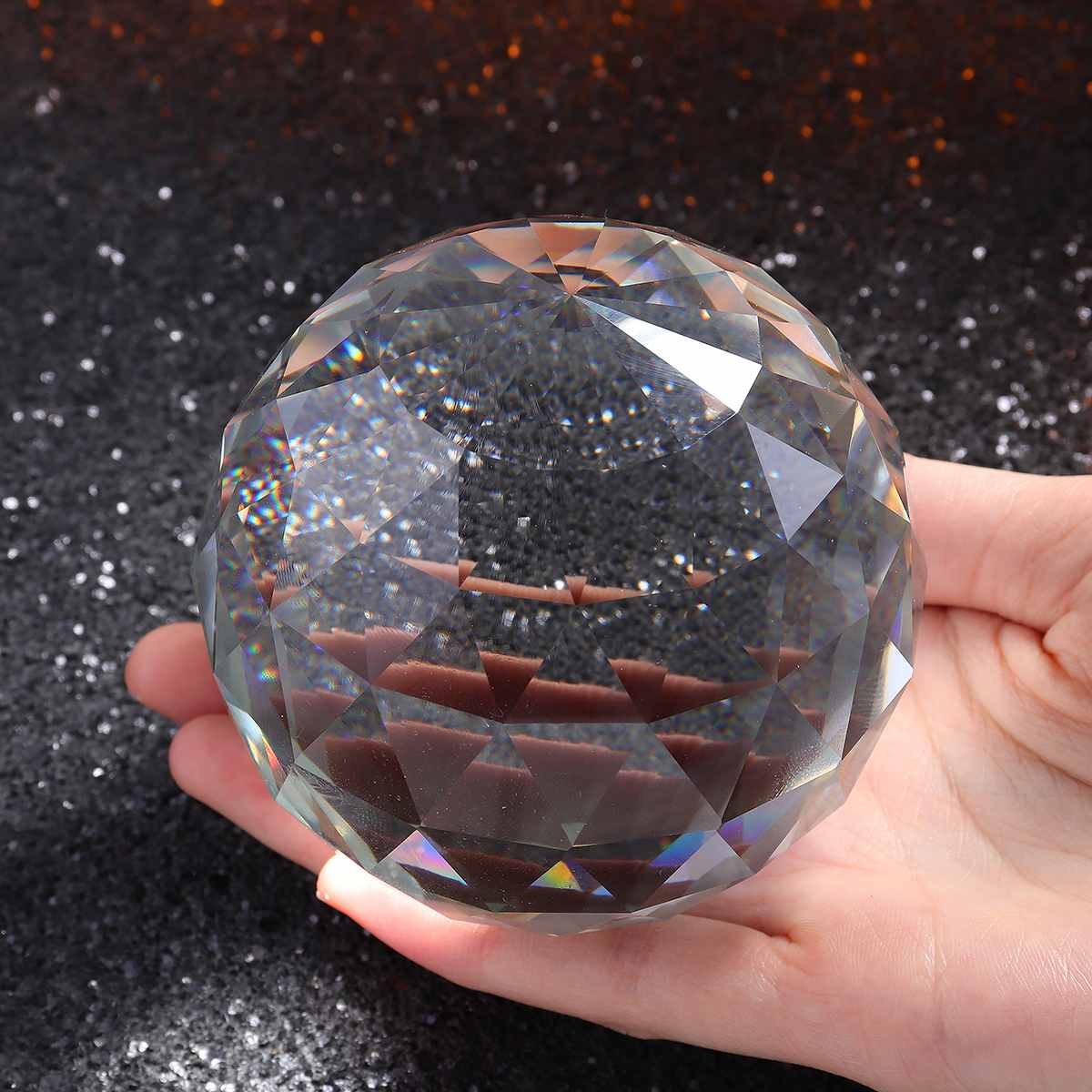 25/80MM Photography Crystal Ball Ornament FengShui Globe Divination Magic  Glass Ball Home Decor Clear Crystal Solid Faceted Ball