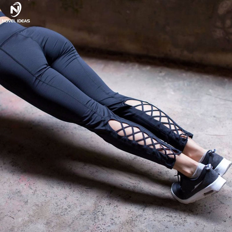 Novel ideas Fold Over Waistband Cut-out Cross Sport Yoga Pants Cute Girly Strappy Gym Athletic Fitness Leggings Workout Outfit
