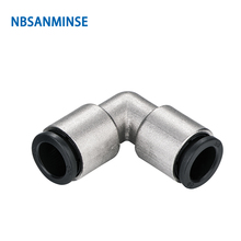 Free Shipping 10Pcs/Lot PVP All Brass Body Plastic Sleeve Push - In Fitting Pneumatic Pipe Union Elbow High Quality Sanmin