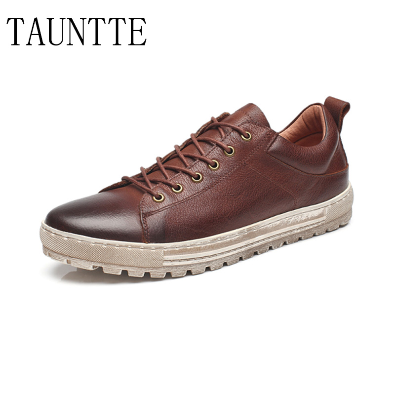Tauntte Retro Men Genuine Leather Shoes Breathable Anti-Odor Casual Shoes For Male tauntte 2017 new all match low cut genuine leather shoes men casual work shoes for free shipping