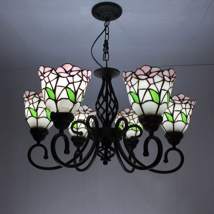 Flower Tiffany Pendant Lamps European Garden style Rose Lampshade 6 Lights Living Room Lamps Bedroom Lamp Hotel Lights oversized living room 36 inch shell lamps rich natural mediterranean flower garden hotel lobby lights pendant lights wwy 0363