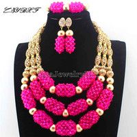 Welcome Christmas 2017 Latest New Fuschia Pink 1 earrings Crystal Statement Bride Wedding Beads Jewelry Set Free Shipping L1110