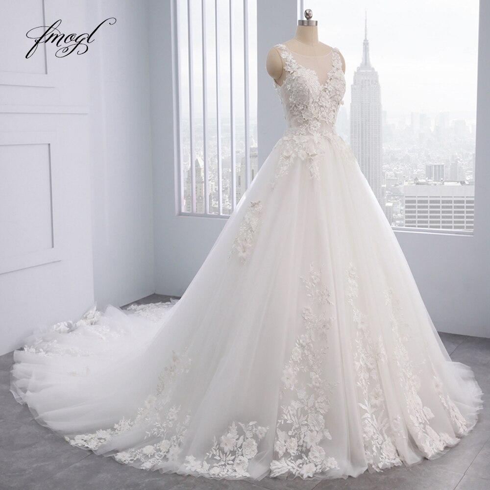 Fmogl Elegant Flowers Lace Princess Wedding Dress 2019 Appliques Beaded Vintage Bride dresses Vestido De Noiva
