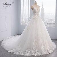 Fmogl Elegant Flowers Lace Princess Wedding Dress 2019 Appliques Beaded Vintage Bride dresses Vestido De Noiva Plus Size