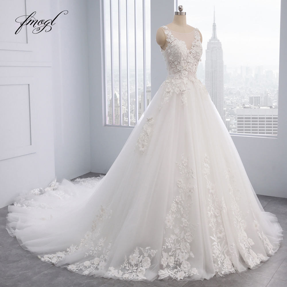 Fmogl Elegant Flowers Lace Princess Wedding Dress 2020 Appliques Beaded Vintage Bride Dresses Vestido De Noiva Plus Size