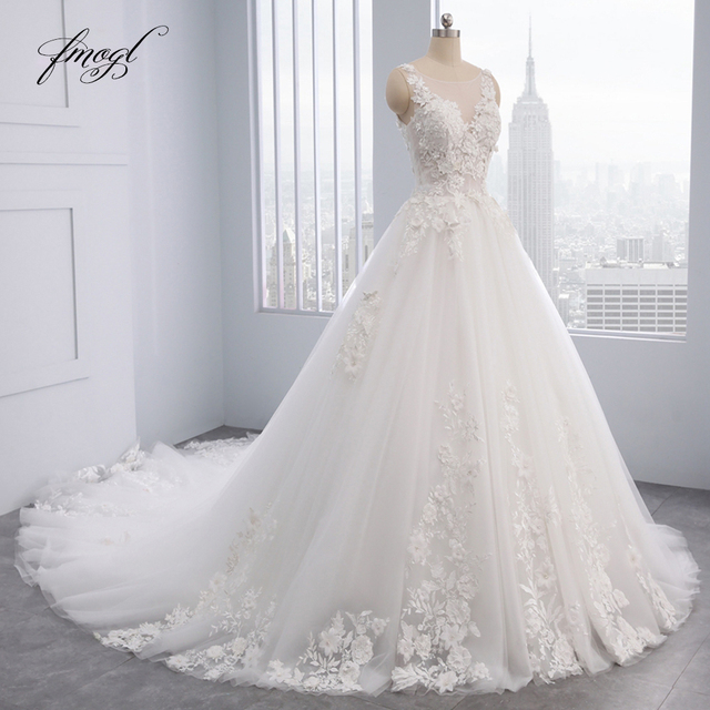Fmogl Họa Tiết Hoa Sang Trọng Phối Ren Váy Cưới Công Chúa 2020 Appliques Đính Hạt Vintage Cô Dâu Váy Đầm Vestido De Noiva Plus Kích Thước